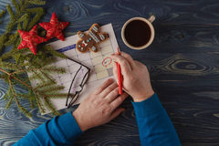 Merk de Datumkalender voor Kerstmis, 25 December, met feestelijk Royalty-vrije Stock Afbeeldingen