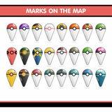 Merk de kaart in de vorm van Pokemon Stock Fotografie