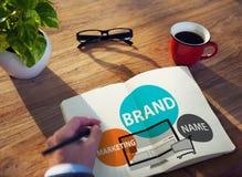 Merk het Brandmerken Reclame Marketing Handelsconcept royalty-vrije stock afbeelding