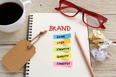 Merk marketing concept met het werkbureau royalty-vrije stock foto's
