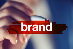 Merk marketing strategie in zaken royalty-vrije stock foto