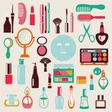Merk-omhoog-schoonheid kosmetische pictogram-reeks stock illustratie