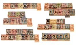 Merk, op de markt brengend, het copywriting en grafisch ontwerp Royalty-vrije Stock Foto