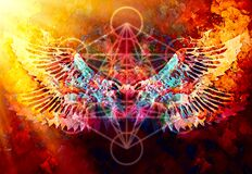 Free Merkaba And Wing On Abstract Color Background. Sacred Geometry. Stock Photos - 210549613