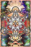 Merkaba and mandala on abstract color background. Sacred geometry. Royalty Free Stock Photo