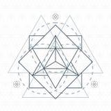 Merkaba outline flower of life sacred geometry Stock Photos