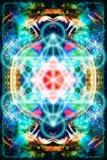 Merkaba sur le fond abstrait de couleur La géométrie sacrée illustration de vecteur