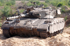 Merkava Tank. ZIKIM,ISR - JULY 07:Merkava Tank on July 07 2006.The Mark IV has the Israeli-designed TSAWS system, It designed to endure the harsh basalt rock Royalty Free Stock Images