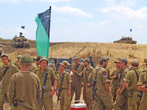 Merkava tanks and Israeli soldiers in training armored forces Stock Image