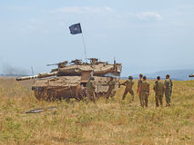 Merkava tanks and Israeli soldiers in training armored forces Stock Photo