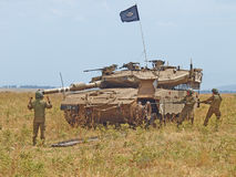 Merkava tanks and Israeli soldiers in training armored forces Stock Photos