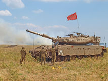 Merkava tanks and Israeli soldiers in training armored forces Royalty Free Stock Image