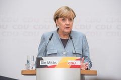 Merkel mówienie na dniu po wybór krajowy, 25th Septem Obraz Stock