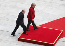 Merkel Putin Stockfotos