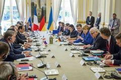 Merkel, Putin, Poroshenko i Lavrov podczas spotkania w Paryż, Zdjęcie Royalty Free
