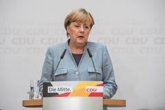 Merkel que habla en el día después de elecciones nacionales, 25to Septem foto de archivo