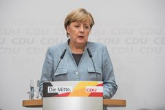 Merkel speaking on the day after national elections, 25th September 2017 stock photo