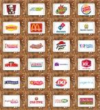 Merken en emblemen van hoogste voedselconcessies Stock Afbeeldingen