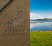 Merkinch local Nature Reserve. Memorial to Merkinch local nature reserve in Inverness, Moray Firth, Highlands, Scotland Stock Photo