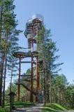 Merkine城楼在森林里晴天在夏天 免版税库存照片