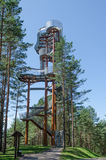 Merkine observation tower in forest at sunny day in summer Royalty Free Stock Photo