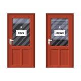 Merkte open en de gesloten deur vector illustratie