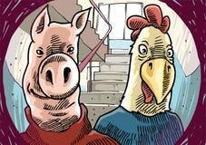 Merkwürdige Besucher hinter der Tür. Stockfoto