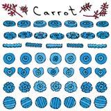 Merkwürdige verrückte blaue Karotten Räuberische Gemüse-Reihe Realistische Hand gezeichnete Illustration Savoyar-Gekritzel-Art Lizenzfreie Stockbilder