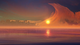 Merkwürdige Wolken-Phänomene über Tropeninsel Lizenzfreie Stockfotografie