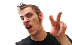 Merkwürdiger Jugendlicher mit dem sonderbarem Haar und Akne Stockfotos