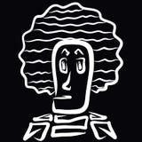 Merkwürdiger Mann mit einer ungewöhnlichen üppigen Frisur lizenzfreie abbildung
