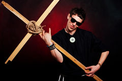 Merkwürdiger Rock-and-Rollpriester lizenzfreies stockfoto