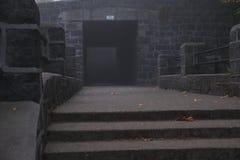 Merkwürdiger Tunnel auf einem nebelhaften Morgen des kalten Nebels lizenzfreie stockfotografie