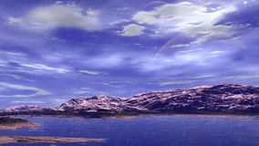 Merkwürdigerer Planet Felsen und Regen animation 4К stock footage