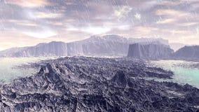 Merkwürdigerer Planet Felsen und Regen animation 4К stock video footage