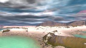 Merkwürdigerer Planet Felsen und See animation 4К stock video