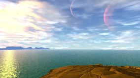Merkwürdigerer Planet Felsen und See animation 4К stock video footage