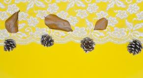 Merletti i confini e le ghiande contro un fondo giallo come concetto delle stagioni cambianti, Natale Fotografia Stock Libera da Diritti