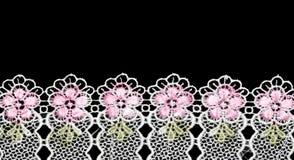 Merletto bianco con un reticolo floreale Fotografie Stock
