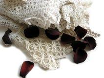 Merletto dell'annata e petali di rosa Fotografia Stock