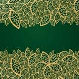 Merletto dorato del foglio su priorità bassa verde Immagine Stock Libera da Diritti
