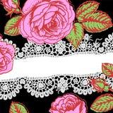 merletto rose scheda Fotografie Stock Libere da Diritti