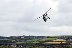 Merlin Flying the skies above Portrush. Royal Navy Merlin Helicopter  on Display at Portrush Airshow Northern Ireland Stock Image