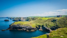 Tintagel castle landscape in Cornwall, England with the Atlantic Ocean coastline royalty free stock images