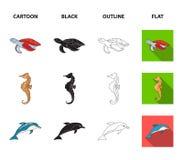 MERLIN, tartaruga ed altre specie Gli animali di mare hanno messo le icone della raccolta nel fumetto, il nero, il profilo, simbo illustrazione vettoriale