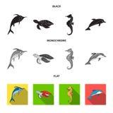 MERLIN, tartaruga ed altre specie Gli animali di mare hanno messo le icone della raccolta nelle azione nere, piane, monocromatich illustrazione di stock
