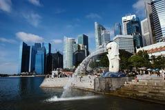 Merlion、新加坡标志和地标  库存照片