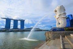 Merlion公园在新加坡 免版税图库摄影