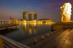 Merlion公园小游艇船坞海湾新加坡 免版税库存图片