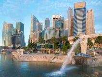 Merlion喷泉是新加坡的标志 库存照片